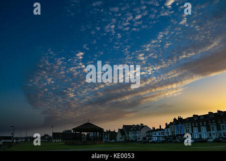 Multi-coloured sunset over Walmer - Stock Photo