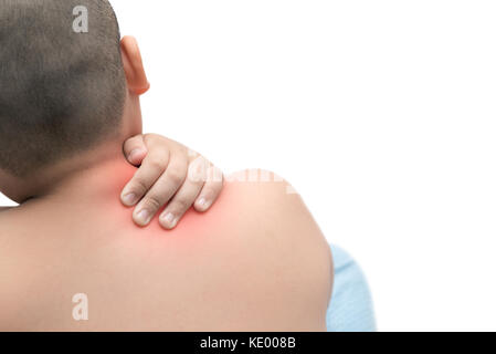 Fat boy scratch the itch with hand isolated on white background , Concept with Healthcare And Medicine. - Stock Photo
