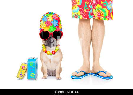 french bulldog dog and owner ready to go on summer holidays vacation with luggage and bags , isolated on white background - Stock Photo