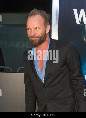 New York, NY - September 28, 2015: Sting attends Roger Waters The Wall New York Premiere at Ziegfeld Theater - Stock Photo