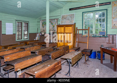 Inside old classroom from the outback, Old Tailem Bend Pioneer Village, South Australia, Australia - Stock Photo