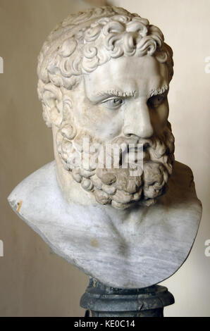 Hercules (Heracles). Hero and god. Roman copy, 1st century of a Greek original, 4th century BC. Altemps Palace (National - Stock Photo