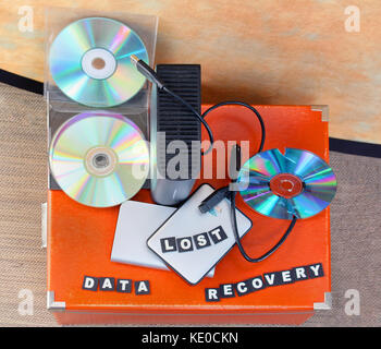 Lost files on digital mediums ready for recovery - Stock Photo
