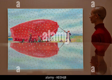 London, UK. 17th Oct, 2017. A staff member views 'The Six Paintings about the Temporary Loss of Eyesight (They are - Stock Photo