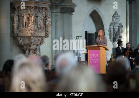 Magdeburg, Germany. 17th Oct, 2017. Federica Mogherini, the EU security and foreign affairs commissioner, gives - Stock Photo