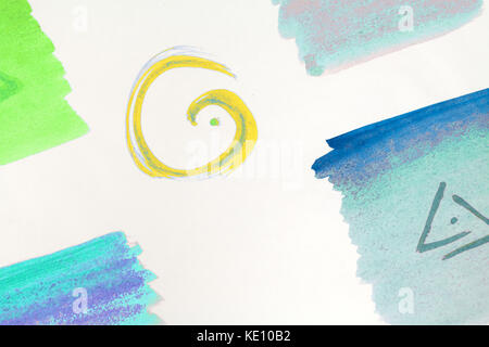 abstract color background, made of intersecting geometric figures, on white background - Stock Photo