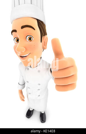 3d head chef positive pose with thumb up, illustration with isolated white background - Stock Photo