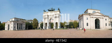 The Arch of Peace (Arco della Pace), Milan, Lombardy, Italy - Stock Photo