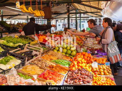 VENICE ITALY VENICE People buying fresh fruit and vegetables from the  Market stalls selling fresh produce in the - Stock Photo