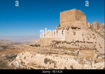 View of Kerak Castle, 12th century Crusader castle, Kings Highway, Jordan, Middle East - Stock Photo