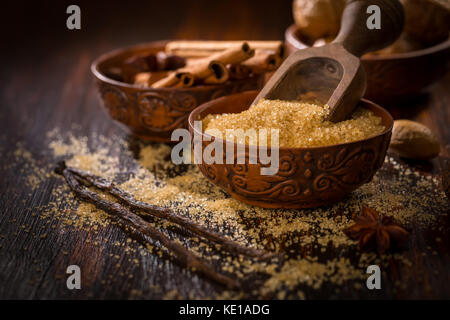 Baking ingredients and spices for Christmas cookies - Stock Photo