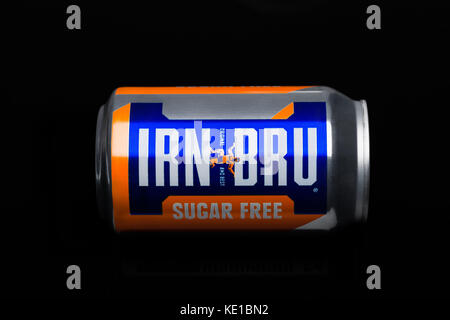 LONDON, UK - MARCH 15, 2017: Can of Irn-Bru lemonade soda drink on black background. Produced by Barr in Scotland, - Stock Photo