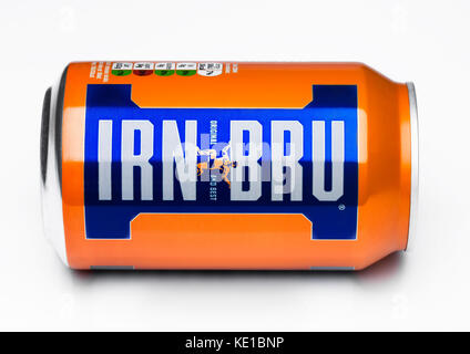 LONDON, UK - MARCH 15, 2017: Can of Irn-Bru lemonade soda drink on white background. Produced by Barr in Scotland, - Stock Photo