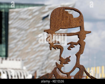 Statue Of Charlie Chaplin in Belfast's Titanic Quarter 2 - Stock Photo