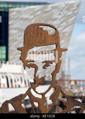 Statue Of Charlie Chaplin in Belfast's Titanic Quarter - Stock Photo