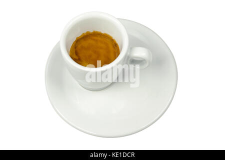 View of a white porcelain cup with espresso coffee with cream isolated on white background - Stock Photo