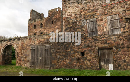 18th century Redhouse Castle, Longniddry, East Lothian, Scotland, UK, ruined tower house castle - Stock Photo