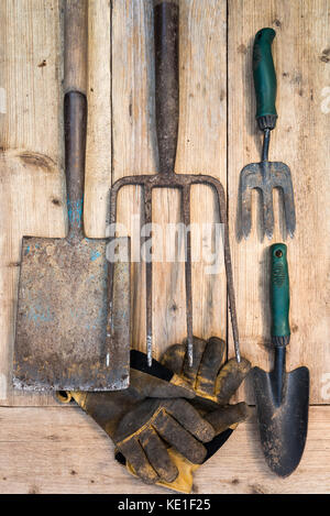 Old garden tools on wooden background. Overhead. - Stock Photo