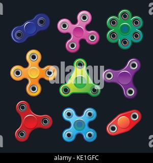 Hand spinners - modern flat vector objects - Stock Photo