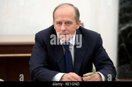 Russian Director of the Federal Security Service Alexander Bortnikov at a meeting with permanent members of the - Stock Photo