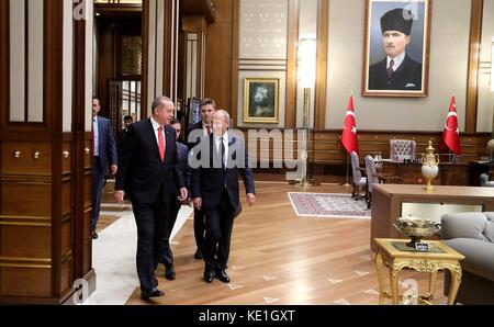 Russian President Vladimir Putin walks with Turkish President Recep Tayyip Erdogan, left, before the start of talks - Stock Photo