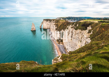 White cliffs of Etretat and the Alabaster Coast, Normandy, France - Stock Photo