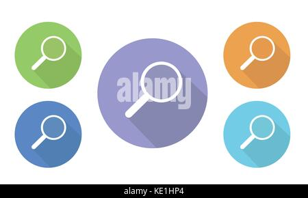 Set of colorful vector flat illustrations of circular icons and search buttons with a magnifying glass - Stock Photo