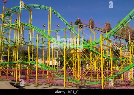 Seasonal amusement park during winter holidays in Menton (French Riviera) - Stock Photo
