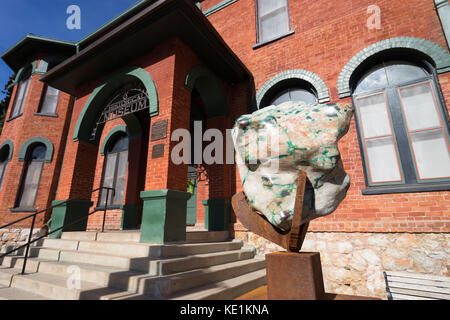 December 9, 2015 Bisbee, Arizona, USA: a large mineral displayed at the entrance of the Bisbee Mining & Historical - Stock Photo