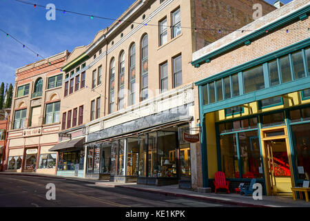 December 9, 2015 Bisbee, Arizona, USA: victorian buildings with stores on main level in the historic downtown of - Stock Photo