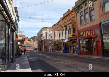 December 9, 2015 Bisbee, Arizona, USA: victorian buildings in the historic downtown of the former copper mining - Stock Photo