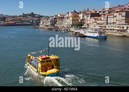 River Tour Boat on the Douro River, Porto, Porttugal - Stock Photo