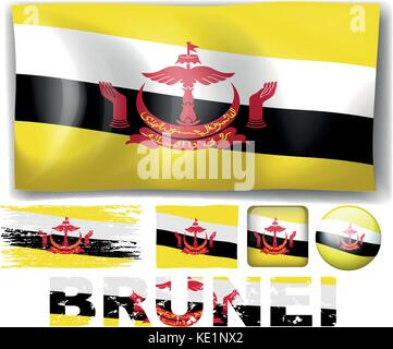 Brunei flag in different designs illustration - Stock Photo