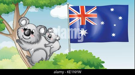 Australia flag and koala on trees illustration - Stock Photo