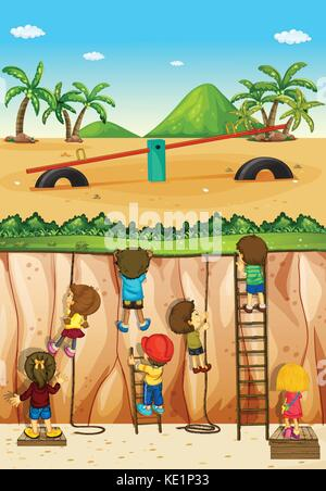 Children climbing up the cliff illustration - Stock Photo