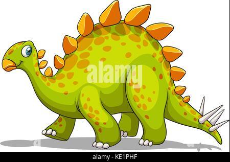 Green and orange dinosaur illustration - Stock Photo