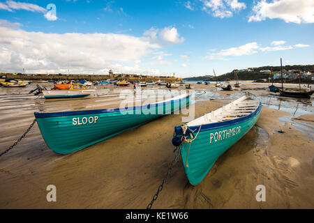 St Ives Harbour Scene with two fine boats. Cornwall, England. - Stock Photo