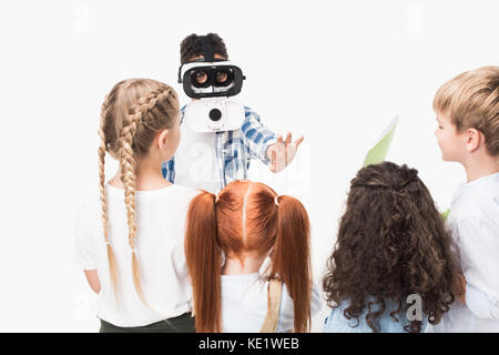 multiethnic group of children playing with virtual reality headset isolated on white - Stock Photo