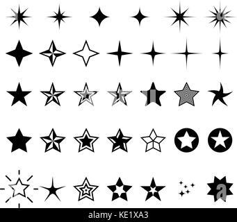 Star icons - rating, rank and decor star symbols
