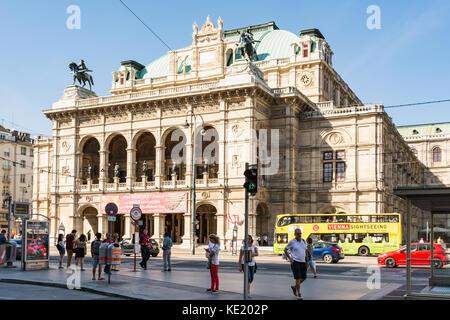 VIENNA, AUSTRIA - AUGUST 29: Tourists at the State Opera of  Vienna, Austria on August 29, 2017. - Stock Photo