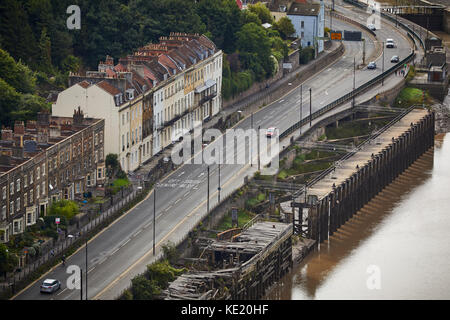 Hotwell Road on the banks of the River Avon from Clifton Suspension Bridge  Bristol city centre - Stock Photo