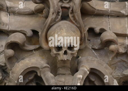 MAGDEBURG, GERMANY - OCTOBER 17, 2017: Skull in the Cathedral of Magdeburg. - Stock Photo