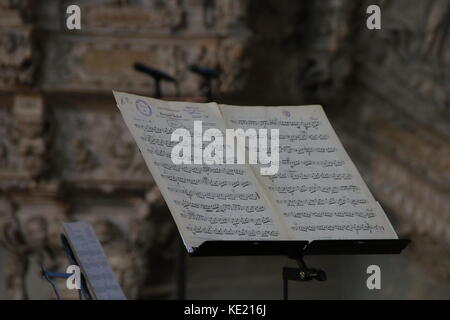 MAGDEBURG, GERMANY - OCTOBER 17, 2017: Symbolic photo: notes in the church. - Stock Photo