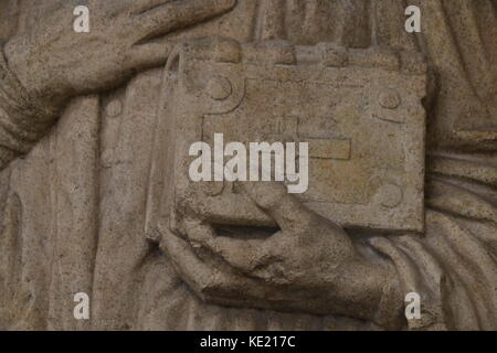 MAGDEBURG, GERMANY - OCTOBER 17, 2017: The Holy Bible, stone figure in the Cathedral of Magdeburg. - Stock Photo
