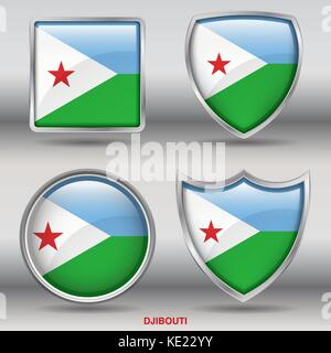 Djibouti Flag - 4 shapes Flags States Country in the World with clipping path - Stock Photo