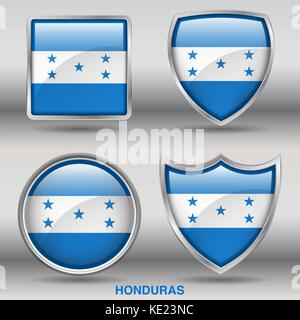 Honduras Flag - 4 shapes Flags States Country in the World with clipping path - Stock Photo
