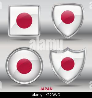 Japan Flag - 4 shapes Flags States Country in the World with clipping path - Stock Photo