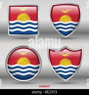 Kiribati Flag - 4 shapes Flags States Country in the World with clipping path - Stock Photo