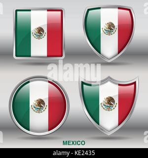 Mexico Flag - 4 shapes Flags States Country in the World with clipping path - Stock Photo