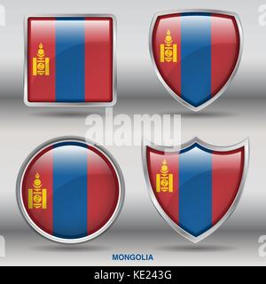 Mongolia Flag - 4 shapes Flags States Country in the World with clipping path - Stock Photo